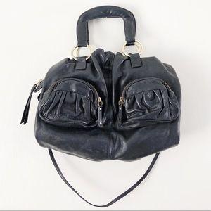 Bulga 'la Tresse' Black Leather Tote Bag